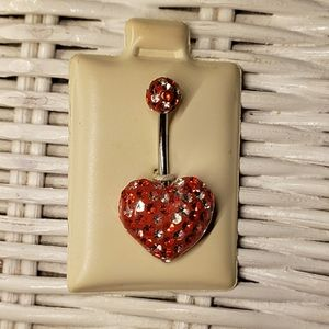 Crystal Heart Belly Ring